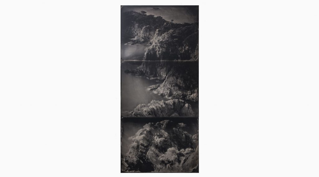 Cala Marquesa nº4 2019 – Wet plate collodion – ferrotype, 73 x 43 cm, triptych, handmade, unique