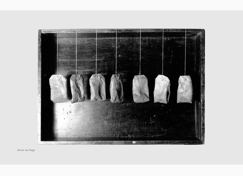 Seven teabags – Teabags & Poetry, 1993 – New York, handmade print from 4 x 5 negative
