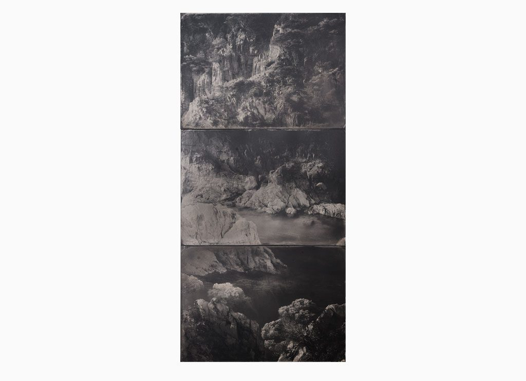 Cala Marquesa nº1, 2019 – Wet plate collodion – ferrotype, 73 x 43 cm, triptych, handmade, unique