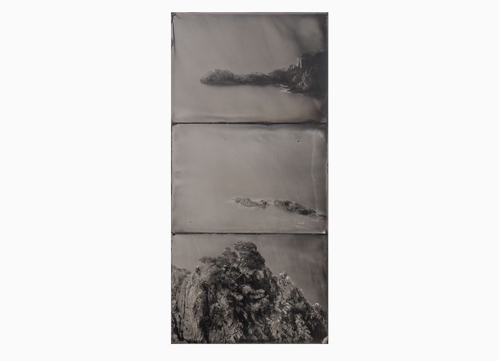 Cala Marquesa nº2, 2019 –  Wet plate collodion – ferrotype, 73 x 43 cm, triptych, handmade, unique