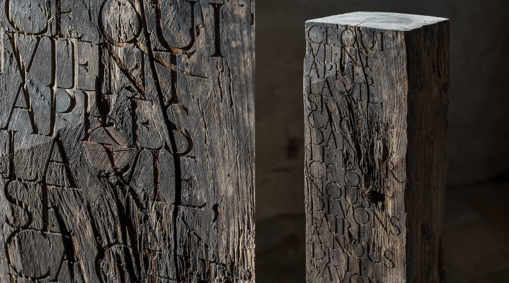 Monolith – Quote from Emmanuel Kant, 2019 – Hundred year old cedar wood with engraved lettering, 96 x 18,3 x 18,3 cm